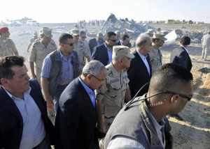 Sherif Ismail and military and government officials at the site where a passenger plane crashed in Hassana Egypt 2