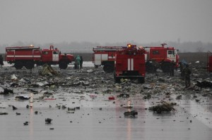 Debris of a Boeing 737-800 on the runway of Rostov-on-Don airport - EPA