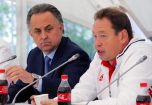 Russian national soccer team head coach Leonid Slutski (R) speaks next to Russian Sports Minister Vitaly Mutko (L) during a press conference in Moscow, Russia, 24 May 2016.  ANSA/YURI KOCHETKOV