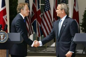 epa05410201 (FILE) A file photo dated 16 April 2004 showing then US President George W. Bush (R) shaking hands with then British Prime Minister Tony Blair after the two leaders answered questions from the news media during a joint press conference in the Rose Garden of the White House, Washington, USA. The report on whether it was right and neccessary to invade Iraq by Sir John Chilcot concluded 06 July 2016 the invasion and subsequent war against Iraq was 'not the last resort'. Chilcot also said US and British policy on Iraq based on 'flawed intelligence and assessments'.  EPA/SHAWN THEW