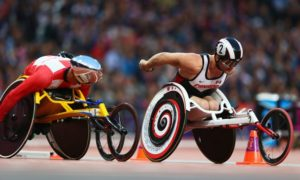 LONDON, ENGLAND - AUGUST 31: Josh Cassidy of Canada competes in the Men's 1500m - T54 heats on day 2 of the London 2012 Paralympic Games at Olympic Stadium on August 31, 2012 in London, England. (Photo by Michael Steele/Getty Images)