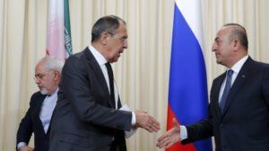 Astana - Iran with Turkish and Russian Foreign Ministers discuss about Syria - photo Reuters